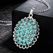 GOMAYA Oval Shape Flower Pendant Luminous Necklace Silver Plated Glowing Stone Unisex Jewelry Best Friend Gift