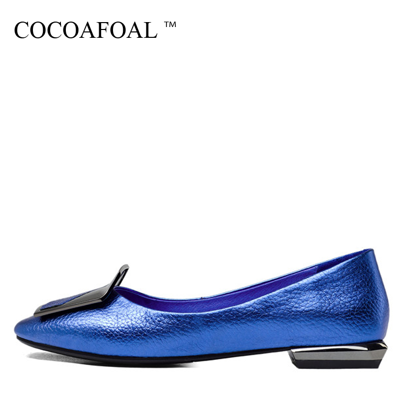 COCOAFOAL Woman Blue Platform Shoes Plus Size 33 - 40 Metal Decoration Red Silvery Flats Spring Autumn Genuine Leather Flats коньки onlitop 223f 37 40 blue 806164