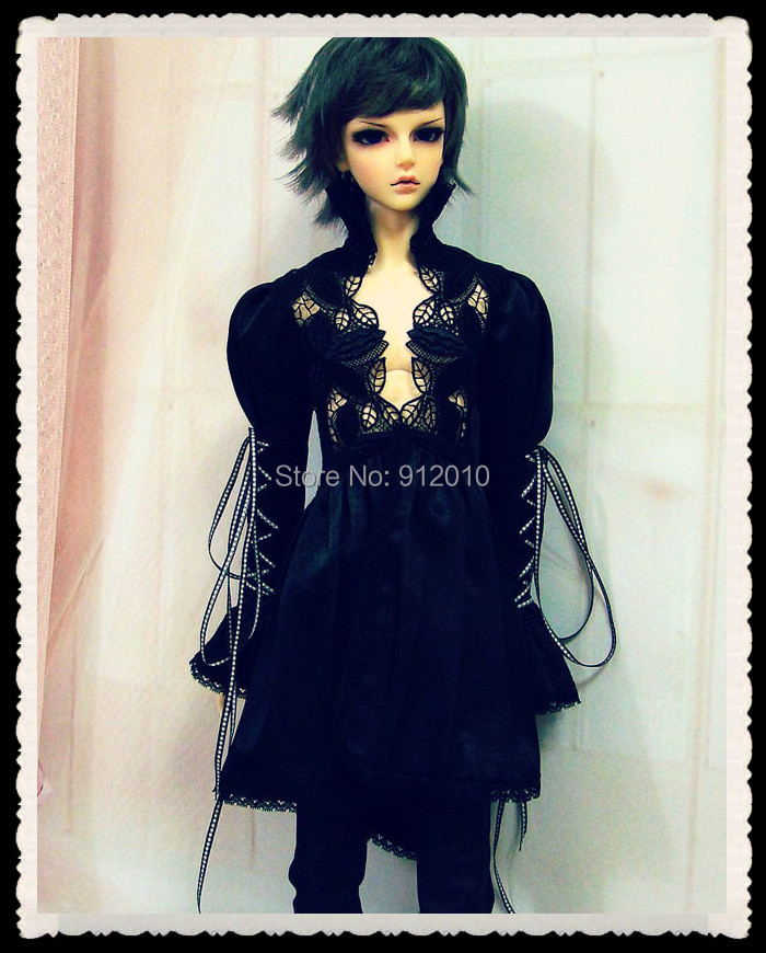 European Hollow Lace Shirt+Pants Suit for BJD Doll 1/4 MSD,1/3 SD10 SD13 SD17 Uncle Doll Clothes Customized new handsome fashion stripe black gray coat pants uncle 1 3 1 4 boy sd10 girl bjd doll sd msd clothes