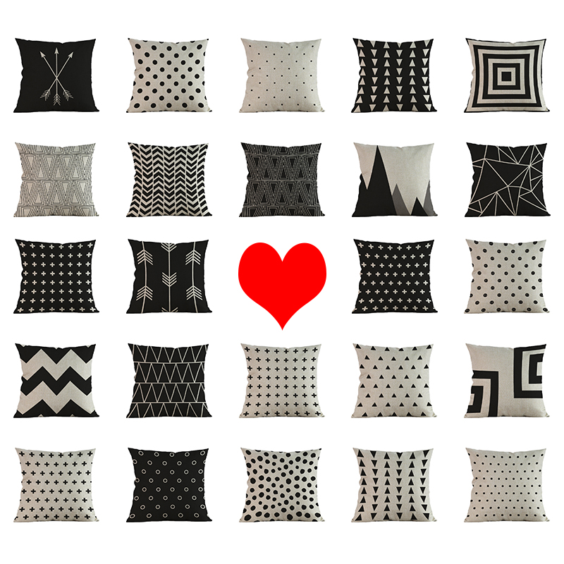 Black grey beige Geometric classic pattern Pillow case comfortable Cushion Cover Car chair office seat Home Decoration gift