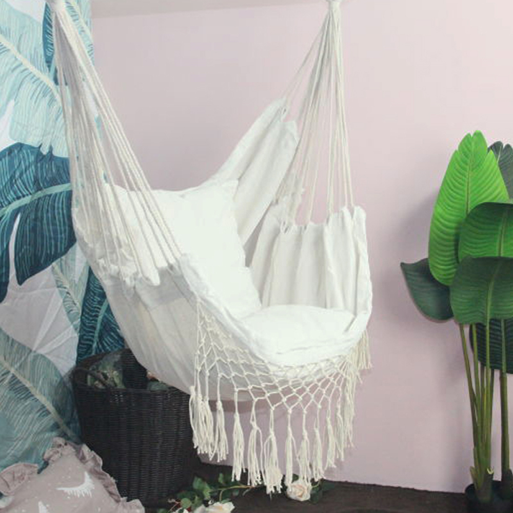 Hanging Rope Hammock Chair Porch Swing Seat, Large Hammock Net Chair Swing Cotton Rope Porch Chair For Indoor Garden Patio Porch