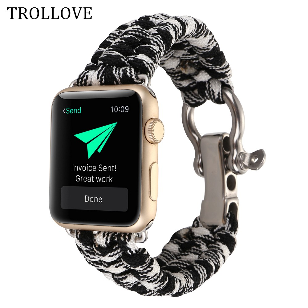 Woven Nylon Rope Watchband for Apple Watch Series 1 2 3 38mm 42mm Military Tactical Parachute Cord Survival Band Strap Outdoors oumily military army survival parachute rope black 30m 140kg 2 pcs