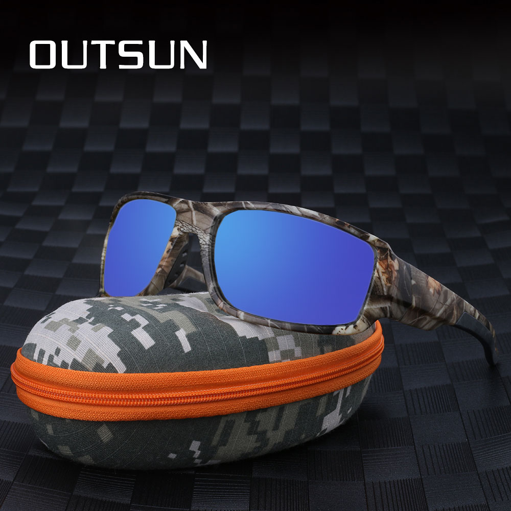 OUTSUN 2018 Sol polarizadas hombres mujeres Sport conducción pesca gafas De Sol marca diseñador camuflaje Marco De Sol