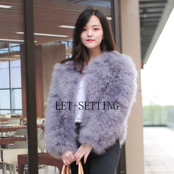 18 colors fashion sexy Ostrich turkey fur wool coat feather fur short jacket 2XL,3XL,4XL,5XL,6XL,7XL gray black green red brown