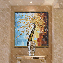 100% handpainted Golden White Money Tree painting Modern Abstract flower Oil Painting on canvas wall art picture home decoration