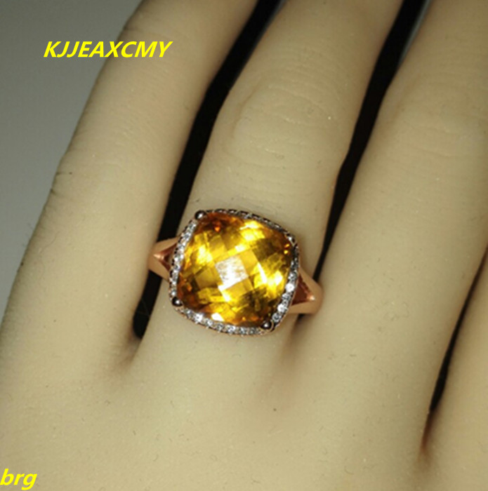 KJJEAXCMY Fine jewelry Fine Platinum-plated natural citrine ladies ring in Sterling 925 Silver недорго, оригинальная цена