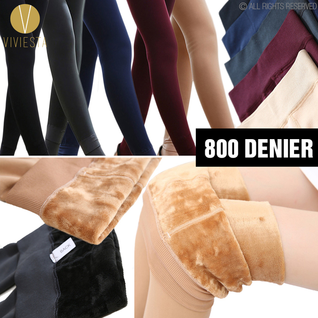 1db9bb0061b5a FLEECE LINED CONTROL TOP SHAPING LEGGINGS - 800D Women s Colored Opaque Winter  Warm Thermal Thick Toeless