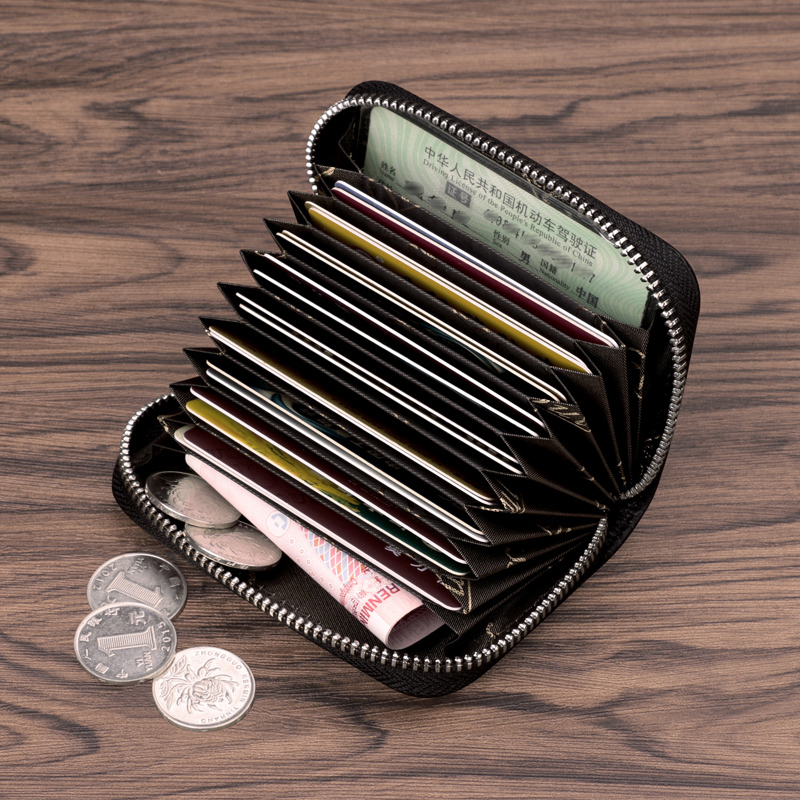 Ouliss business card holder men zipper organ leather card holder ...