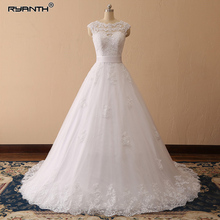 Ryanth Vestido De Noiva Scoop Ball Gown Wedding Dress Lace Sheer Tulle Bride Sleeveless Robe Mariage Sashes Real Image