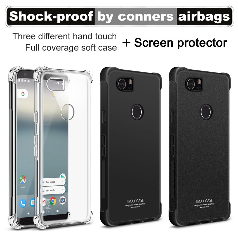 Corners Airbag Shock-Proof Case For Google Pixel XL 2 Soft TPU Case Cover For Google Pixel 2XL Cover Matte Case Screen Film