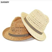 SUOGRY New Design Fashion High quality Handmade Straw Hat Parent child cap Jazz Formal TreeHat Summer Sun Beach Hats
