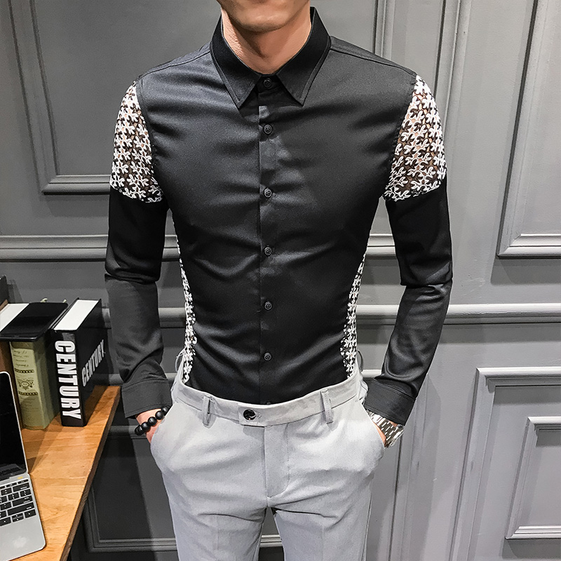 Image 2 - Spring 2019 New Men Shirt Long Sleeve Sexy Lace Patchwork Shirt Dress Streetwear mens shirts casual slim fit overhemden herenCasual Shirts   -