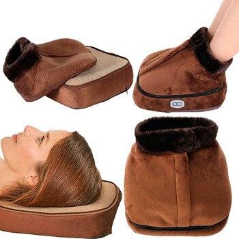 Masajeador eléctrico de pies, vibrador, calentador térmico, calentador de pies de terciopelo Unisex, calentador de pie calentado, zapatilla de pie, zapatos de masaje cálidos