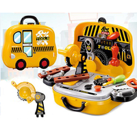 KAWO Construction Tools Toy Set for Baby Boy Plastic Chainsaw Screws Hammer Pretend Play Kids Suitcase Garden Carpentry Tool Box
