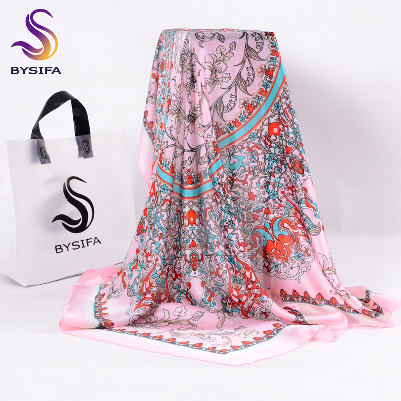 [BYSIFA] Classial Floral Women Silk Shawl Scarf Nueva marca Ladies Pink Large Square Scarves Wraps Venta caliente Muslim Head Scarf Cape