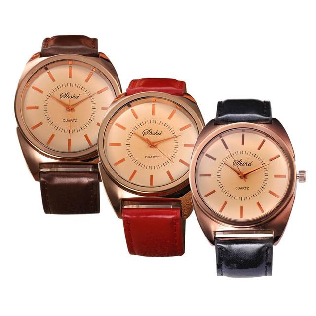 Fashion Lady Women Men Watches Wristwatch Leather Band Analog Luxury Bracelet Di