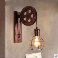 Loft industrial retro wall lamp lifting pulley restaurant corridor iron art wheel wall lamp
