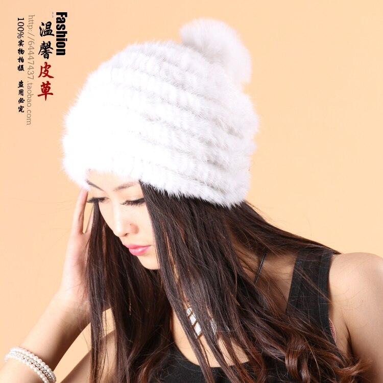 Hiver femmes réel vison fourrure chapeau avec renard fourrure boules vison fourrure cape mignon beanie dôme casquette chapeau Skullies et bonnets