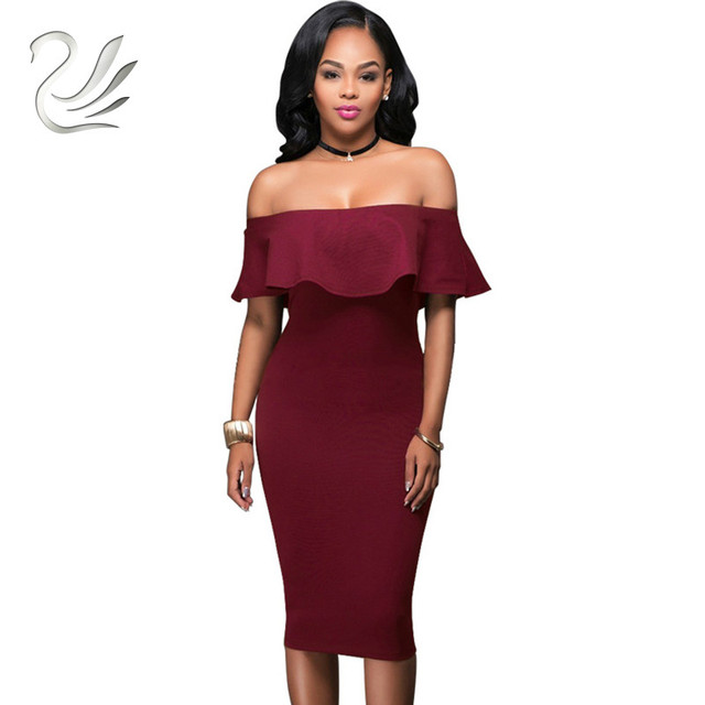 aa30b6fd23c7 Off Shoulder Short Sleeve Burgundy Ruffle Summer Dress 2018 Women Sexy Slim  Bodycon Mini Evening Club Dresses