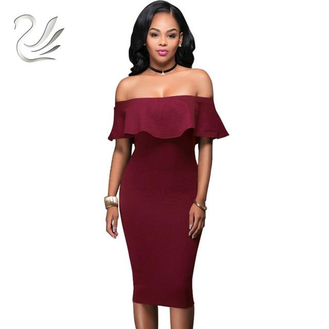 e265ac65b4e2 Off Shoulder Short Sleeve Burgundy Ruffle Summer Dress 2018 Women Sexy Slim  Bodycon Mini Evening Club Dresses