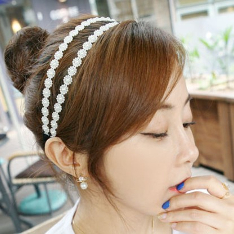Trend elastic headband small sweet wind sunflower hair accessories double row of pearl flower