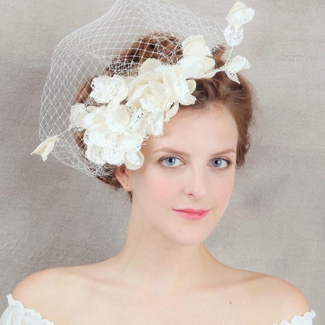 2017 Do Vintage Feitos À Mão Flores Do Casamento Chapéus Nupcial Hat Birdcage Veil Acessórios Do Casamento Acessório Do Cabelo