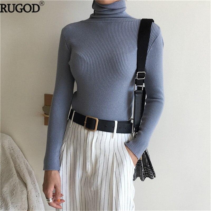 RUGOD однотонный Водолазка Элегантный свитер женский длинный рукав вязаный тонкий пуловер женский Лидер продаж осень зима свитер Befree Топы купить на AliExpress