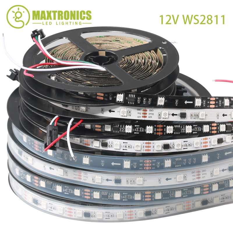 5m/roll DC12V ws2811 2811 ic 5050 SMD rgb strip addressable 30/48/60leds/m led pixels strip external ic, 1 ic control 3 led 5m ws2801 raspberry pi control led strip 32leds m external 2801 ic arduino development ambilight dc5v non waterproof 5050 smd