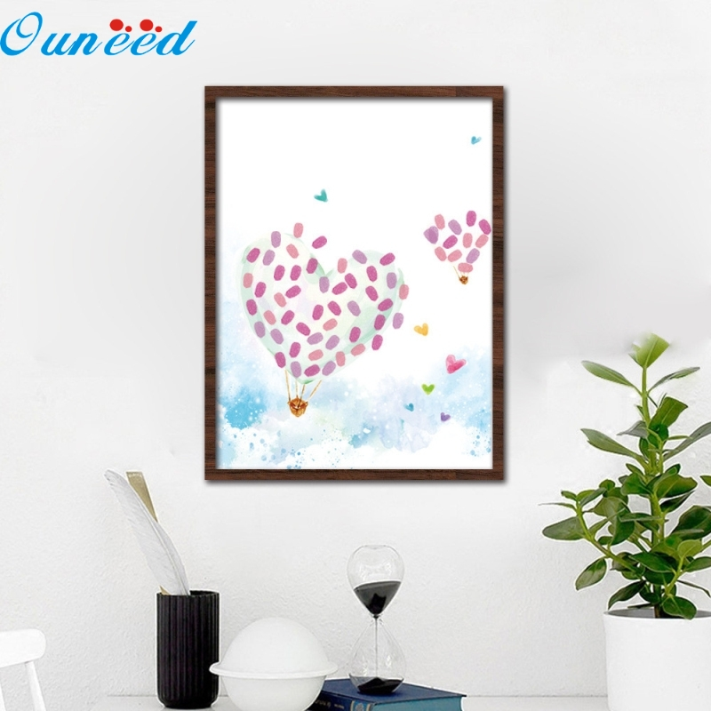 Ouneed Happy 40X30cm Creative Gift Canvas Wedding Tree Fingerprint Guest Book For Graduation Baby Showers And Baptism 1 Piece 30x42cm personalize wedding tree guest book alternative wedding tree fingerprint guestbook thumbprint books get 6 ink pads free