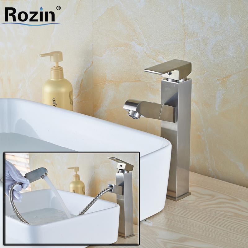 Brushed Nickle Pull Out Basin Taps Deck Mounted Hot and Cold Water Faucet Single Handle Hole flg modern multi color pull out bathroom basin faucet single hole cold and hot water deck mounted tap basin faucet mixer taps