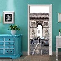 77x200cm 2pcs Set Paris Arc De Triomphe Creative Door Sticker For Bedroom Living Room Diy Door