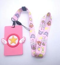 1 Pcs Cartoon Japanischen anime Card Captor Sakura Lanyard Schlüssel Ketten Karte Inhaber Bank Card Neck Strap Karte Bus ID halter cheap CN (Herkunft) Kein Mode Unisex Schlüsselanhänger Face TRENDY