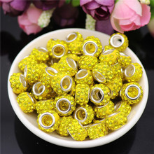 20pcs/lot Large Hole Crystal Rhinestone Glass Beads Spacer for Jewelry Making fit Bracelet Chain Bangle Earrings Hair
