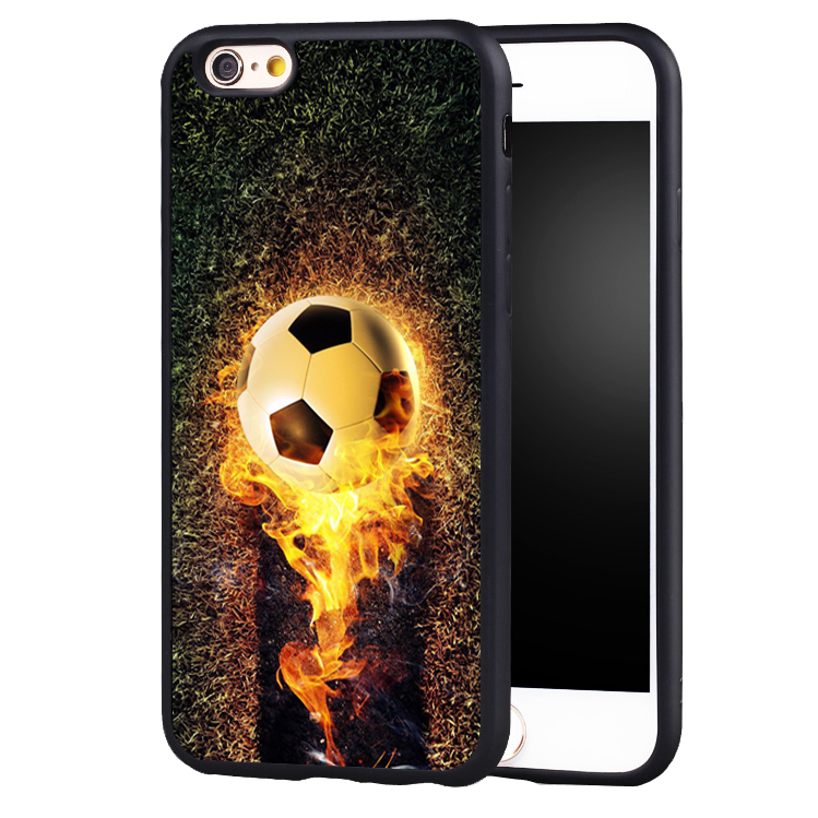 Fire Football Soccer Ball soft edge hard back Printed case cover For iPhone6 6S 6SPLUS