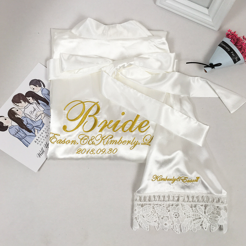 5pcs lot Custom name Lace party Wedding Bridesmaid Robes personalized gift sister mother of Bride satin kimono robe