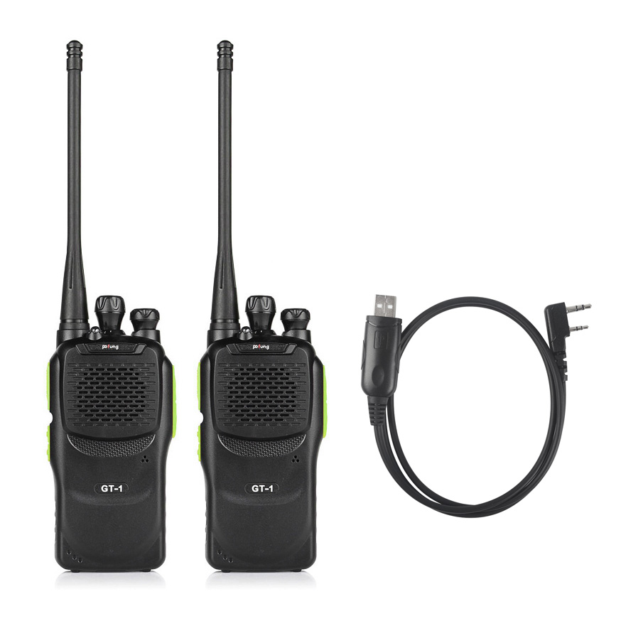 2 PCS Baofeng Pofung GT-1 UHF 400-470MHz 5W 16CH שני הדרך חם רדיו כף יד טוקי 888s עם תכנות כבל עבור Win10
