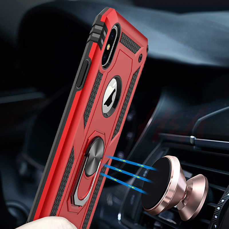 H&A Luxury Magnetic Ring Case On The For iPhone 6 6s 8 7 Plus Phone Cover For iPhone X XS Max XR Case Shockproof Holder Cases