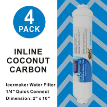 4 PACK 10-Inch Inline Coconut Carbon filters Icemaker and Refrigerator RO Dispenser Drinking Water Filter 1/4 Quick Push Fit 3 pack whirlpool 8171413t compatible refrigerator water and ice filter by zuma water filters opfw2
