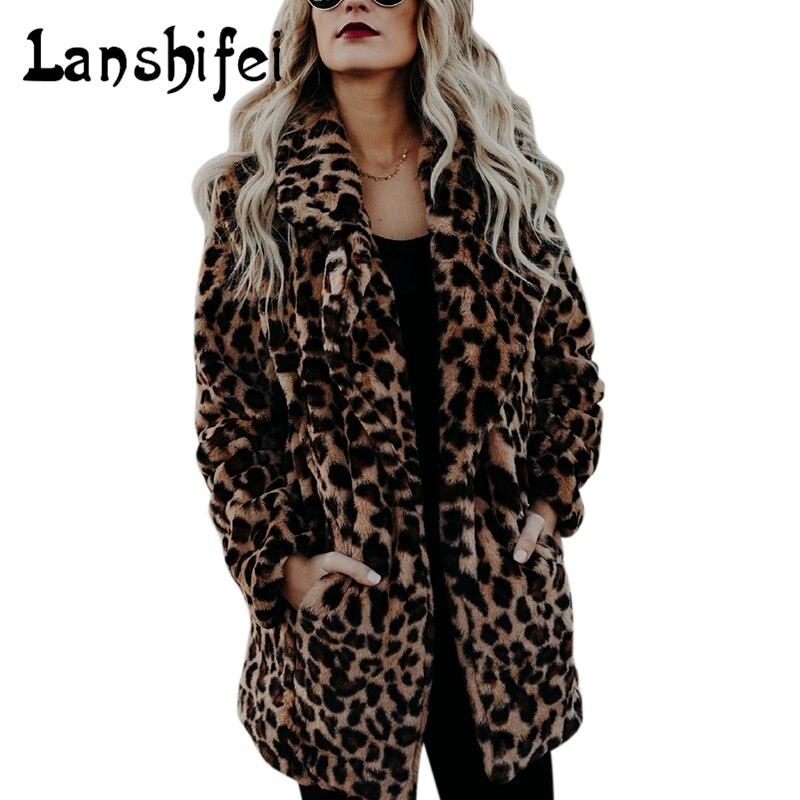 Manches Survêtement Style 2xl Femelle Veste Leopard À Long Laine Automne Artificielle Femmes Léopard M Hiver Manteau De Longues Mode Imprimé AUvx0wU7
