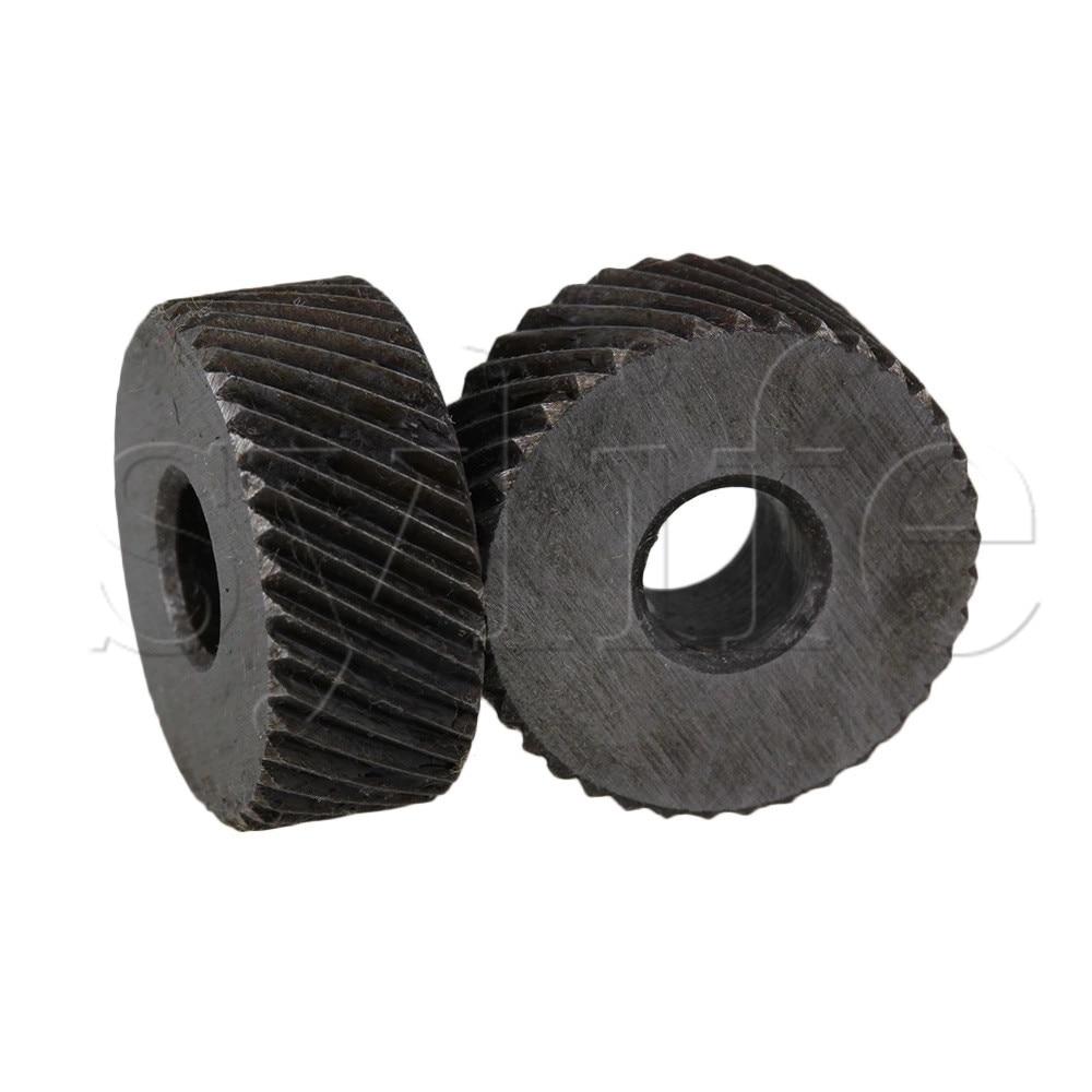One Pair 1.2mm Pitch Diagonal Coarse 19mm OD Knurling Wheel Roller Tool Steel
