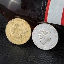 Копия памятной монеты свинья на удачу год памятная монета коллекция елизаны подарки художественные ремесла сувенирные монеты(серебро
