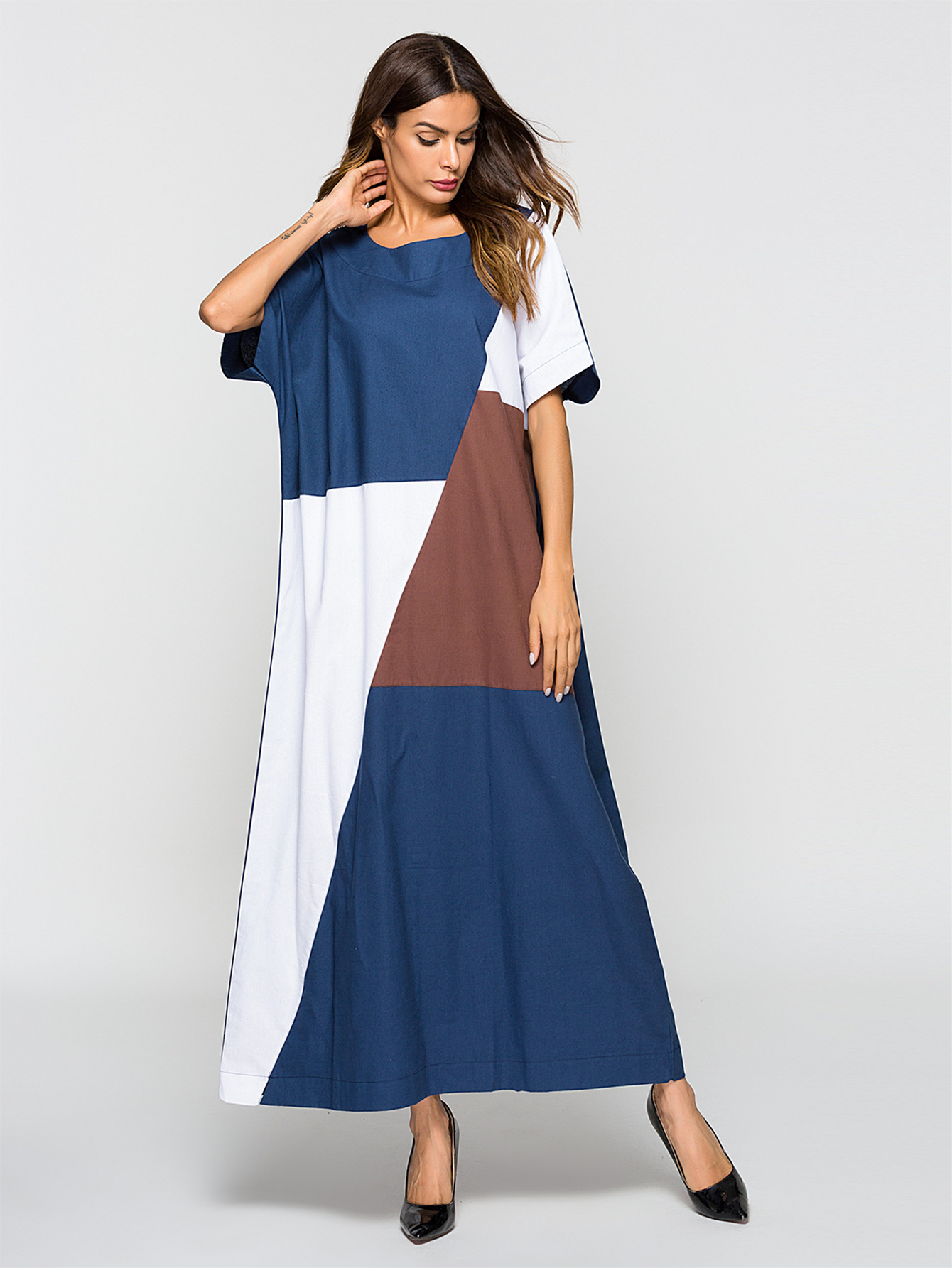 Women New Short Sleeve Stithing Kaftan Muslim Arab Middle East Robe Abaya Dubai Ramadan Moroccan Islamic Prayer Clothing Dress