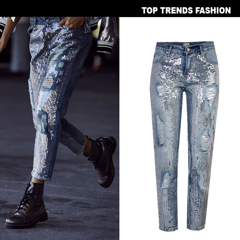 2020 New Women's Waist Loose Straight Denim Nine Pants Ultra Popular Metal Color Embroidered Beads Washed Old Holes Jeans