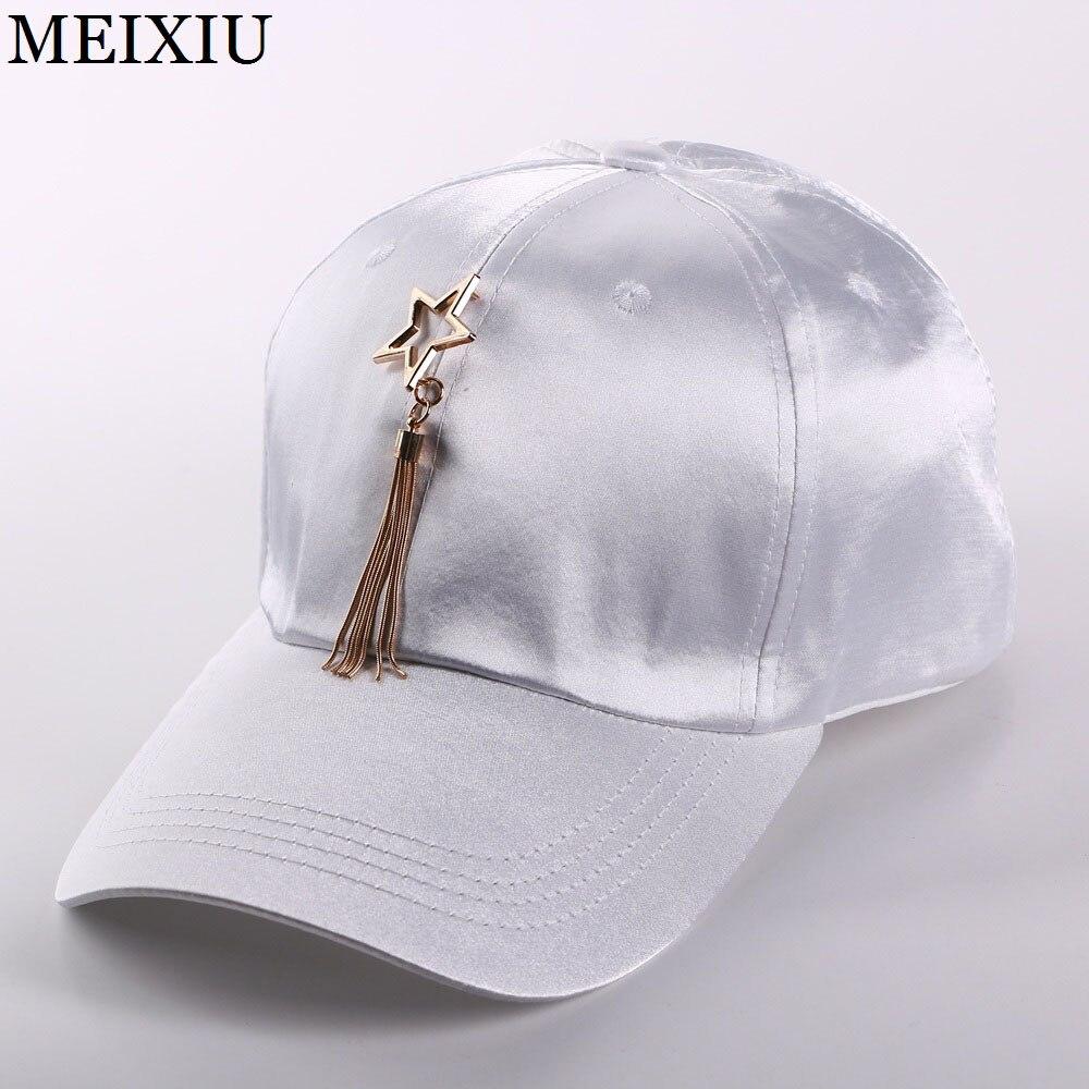 Meixiu Store 2017 Fashion Metal Star Tassels Baseball Cap For Women  Girl Casual Snapback Cap For Men High Qaulity Satin Bone Dad Hat