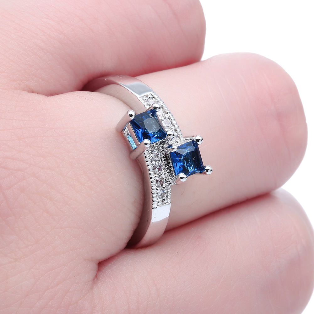 Romantic Black Zirconia double square Stone silver plated engagement ...