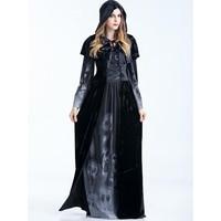 Women Gothic Witch Long Dress 2018 New Floor Length Skull Print Bandage Flare Sleeve Party Slim Girls Winter Halloween Dresses