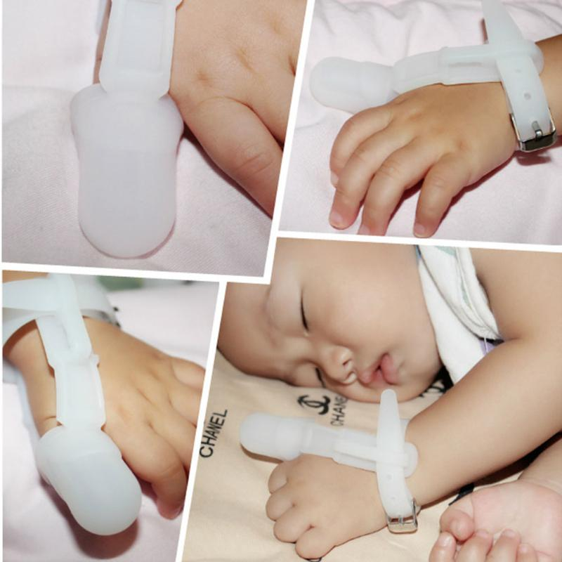 Baby Safety Silicone Healthy Thumb Gloves Prevent Stop Thumb Sucking Teether Prevent Finger Deformation Anti-sucking Thumb Glove