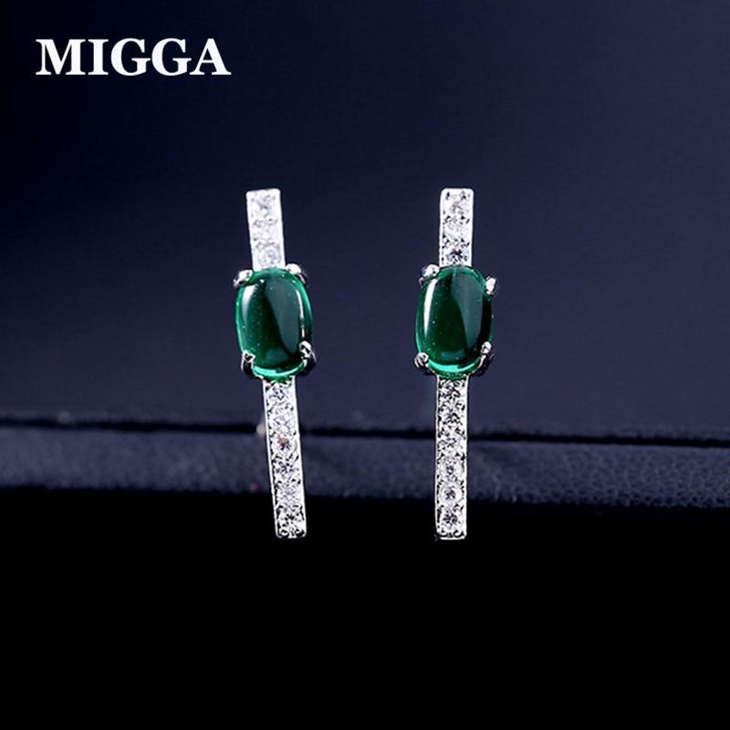 MIGGA High Quality Dark Green Cubic Zirconia Stones Stud Earrings for Women Ladies Party Accessories