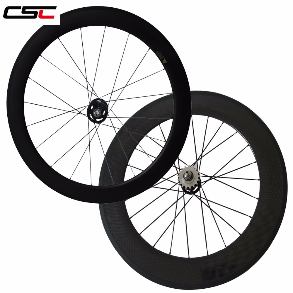 CSC 88mm Clincher fixed gear track carbon wheelset single speed flip flop 700C