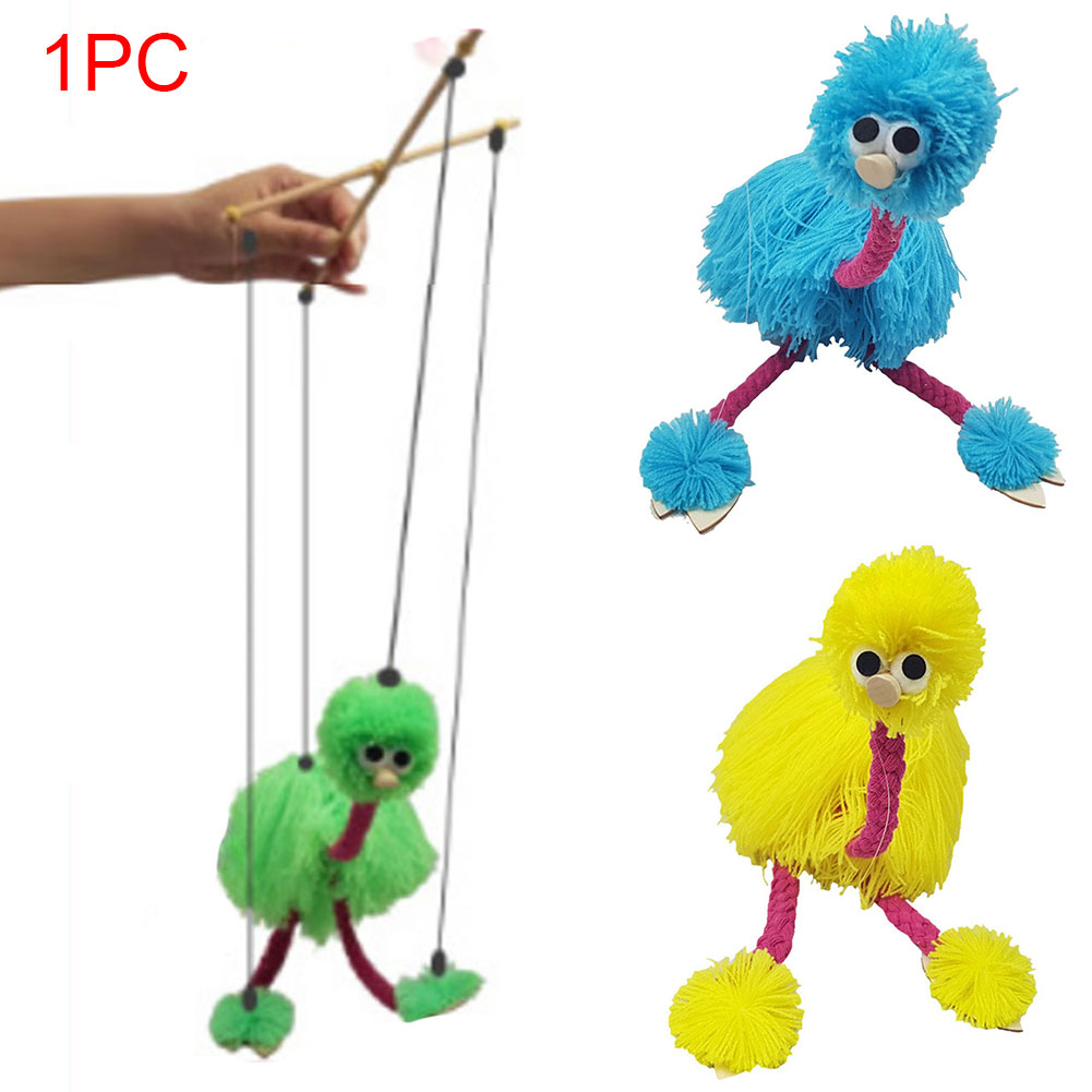 2PCS Crafts Kids Marionette Children Toys Traditional Wooden Puppet Animal Rope Control Doll Ostrich Shape Festival Muppets